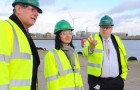 Shadow Secretary of State for Energy Caroline Flint visiting the Greater Gabbard Offshore Wind Farm base in Lowestoft with Bob Blizzard. The Bond helipad next to the base. Picture: James Bass